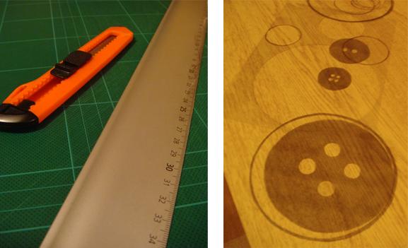 Foto på skärmatta, skalpell och schablon