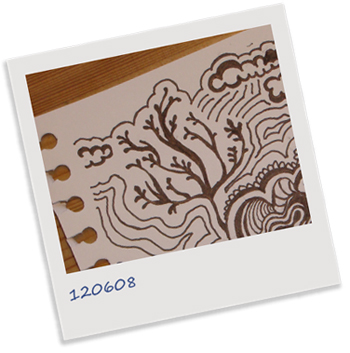 polaroid träd moln